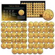 1999-2009 Complete Set Of All 56 Statehood U.s. Quarters 24k Gold Plated Coins
