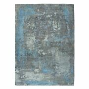9and039x11and0399 Gray Pure Wool Abstract Design Hand Knotted Oriental Rug R52593