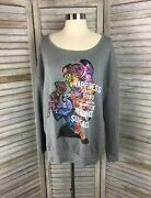 Disney Belle Floral Print Pullover Sweatshirt Beauty And The Beast Fairytale Flaw