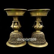Tibet Buddhism Buddhist Instrument Ritual Pure Copper Water Goblet Oil Cup Pair