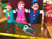 Finger Puppet Punch And Judy Vintage Set Crocodile Mother Toys Toy Set