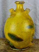 Antique French Provincial Conscience Jug With Yellow And Green Glaze - Water / O