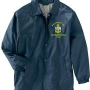 Uss Independence Cv-62 Navy Coaches Embroidered Lightweight Jacket