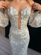 Bridal Custom-made Silver Gown With Removable Sleeves