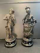 J. Uffrecht And Co Antique German Detailed Victorian Couple Ceramic Statues H12andrdquo