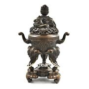 Tibet Buddhism Pure Red Copper Animal Elephant Incense Burners Censer Incensory