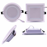 1/10x Dimmable 6w 9w 12w 18w Led Recessed Glass Ceiling Panel Down Light Lamp Fr