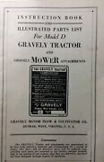 Gravely Model D Walk-behind Lawn Garden Tractor Owner And Parts Manual Rare Find