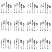 Lenox Poppies On Blue 18/8 Stainless 60pc. Flatware Set Service For Twelve
