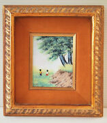 Vtg Enamel On Copper Artwork Landscape Scenery Fields With Young Boy And Girl