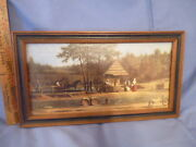 Old Colonial Farm Scene With Threshing Floor And Horse Framed