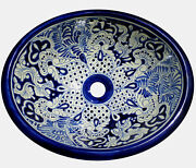 083 Small Bathroom Sink 16x11.5 Mexican Ceramic Hand Paint Drop In Undermount