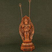 Unique Chinese Old Boxwood Hand Carving Thousand-hand Kwan-yin Statue Gift