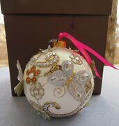 Jay Strongwater Floral Scroll Artisan Pearl Ornament Butterfly Nib