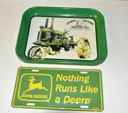 2 John Deere Tractor Collectibles Car License Plate 1929 Gpwt Metal Tin Tray