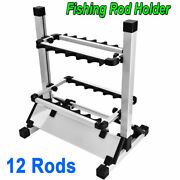 Fishing 12 Rods Wall Rack Pole Holder Portable Aluminum Alloy Stand Storage Tool