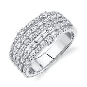 Womens Baguette Round Wide Diamond Ring 14k White Gold Open Multi Row Size 7