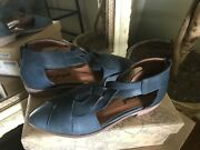Free People Woman's Blue Leather Flat Eu 38/8m Msrp 178