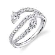 14k White Gold Diamond Wrap Open Ring Womens Natural Pear Cut Cocktail Natural
