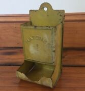 Vintage Farmhouse Painted Steel Fireplace Wood Stove Wall Mounted Match Holder