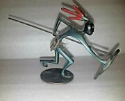 Rare Vtg Israel Hakuli Solid Bronze Of African Fighter Signed And Kenya Tax 50and039s