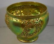 Zsolnay Iridescent Eosin Art Pottery Bowl With Open Work
