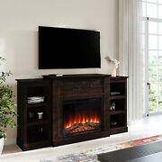 70 Traditional Electric Infrared Fireplace Heater Wood Mantel With 6 Shelves