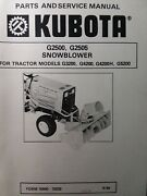 Kubota G3200 Garden Tractor Snow Thrower Implement G2500 Service And Parts Manual