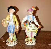 19th Century Lady And Gent Hand Painted Elaborate Frankenthal Dresden Figurines