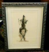 Magnificent Estate Rare Gary Welton Mixed Media On Paper Painting - Signed