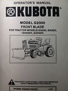 Kubota G5200h Garden Tractor Front Blade Implement G2000 Owner And Parts Manual