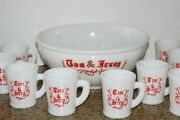 Vintage Mckee Glass Company Tom And Jerry Christmas Punch Bowl Set W/9 Cups