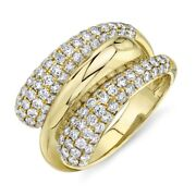 14k Yellow Gold Diamond Wrap Swirl Ring Round Pave Dome Cocktail Womens Size 7