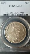 1826 Capped Bust Half Dollar  Pcgs Au55 Price Guide Value 900.