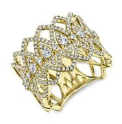 Diamond Cocktail Wide Ring Womens 14k Gold Open Lace Round Marquise Statement