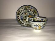Staffordshire Salopian Pearlware Cup And Saucer With Bird And Florals Ca. 1820