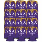 Lambda Chi Alpha Can Cooler Set Of 12 - Purple And Gold - Free Shipping