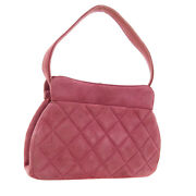 Quilted Cc Hand Bag 4866425 Purse Pink Suede Leather Vintage Auth 01117