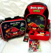 Angry Birds Space 12 School Backpack,lunch Box,pencil Case,and7pc Stationary-new