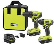 Cordless Drill And Compact Driver 2-tool Combo Kit With 2 Batteries Ryobi New