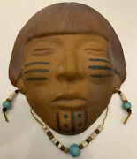 """Indian Native American Men Sand Clay Mask South West Artist Darby 7 X 7"""""""