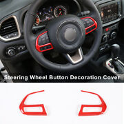 2pcs Red Car Steering Wheel Switch Frame Decor Cover For Jeep Renegade 2016-2018
