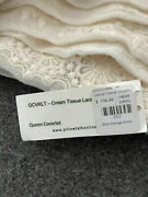 736 Pillow Talk Tuscan Linen Lace Queen Coverlet Quilt Embroidered Ivory Italy