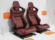 Pair Corbeau High Base Front Seats Burgundy Leather Fit Land Rover Defender 90 1