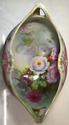 """Noritake Nippon Porcelain Footed Fruit Bowl Hand Painted Flowers 12.5"""""""