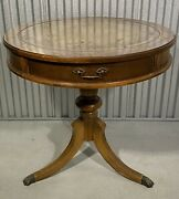 Antique Round Leather Top Drum Table With Paw Feet