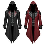 Vintage Men Gothic Steampunk Pu Leather Hooded Jacket Trench Coat Overcoat S-5xl