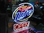 Original Collectible Working Miller Lite Neon Open Sign From Old Closed Down Bar
