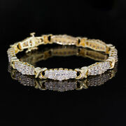 6 Carat Round Diamond Tennis Bracelet In 10k Yellow Gold Two Rows Graduated Link