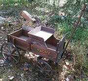 Rare Vintage Acme Wood Wagon Goat Childs Pony Wood Wheels A Real Beauty